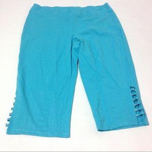 New Regalia Women Capri Turquoise Blue Size XL